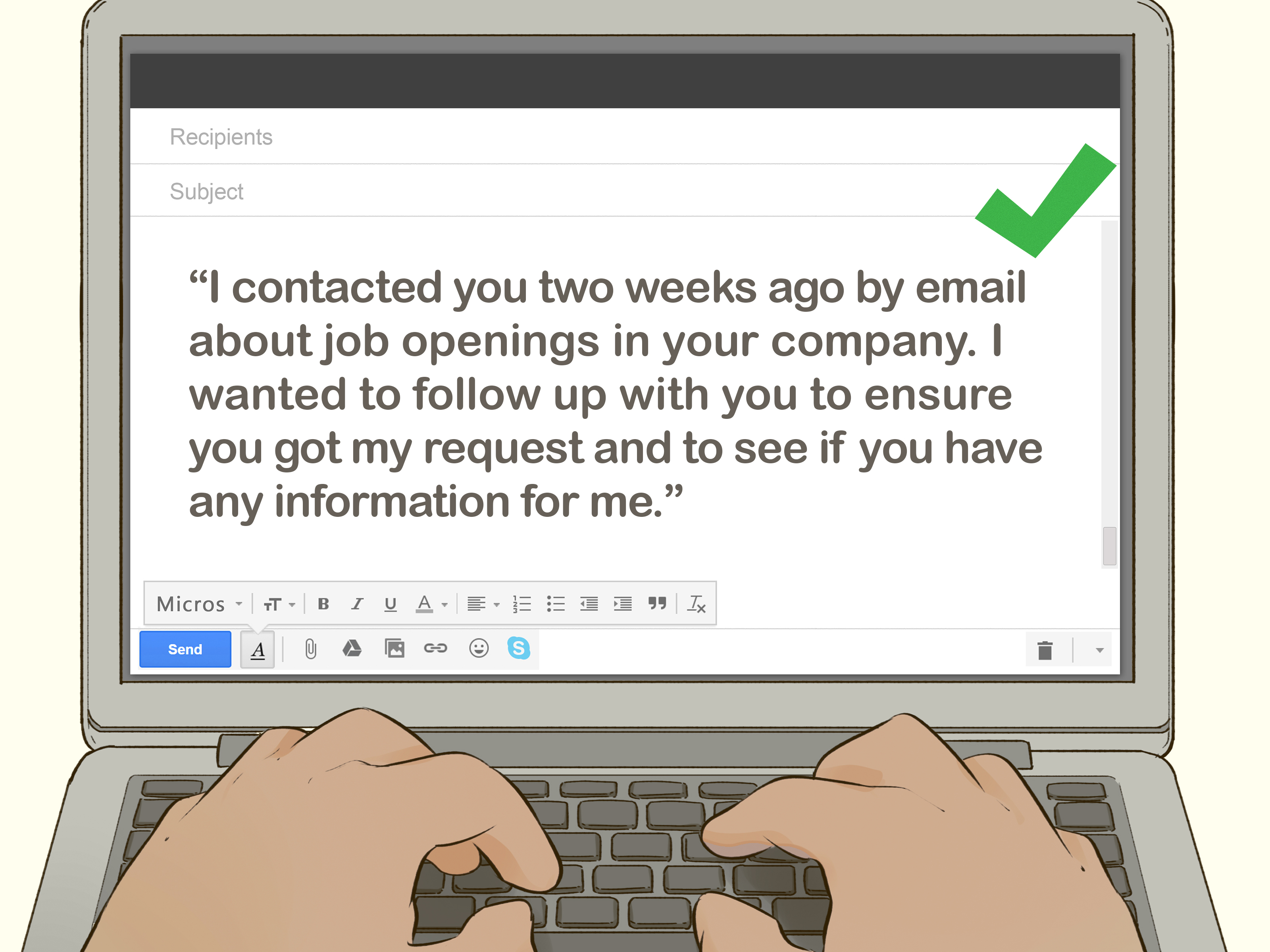 follow up email to a job application