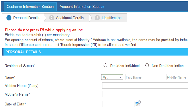 sbi online application for new account