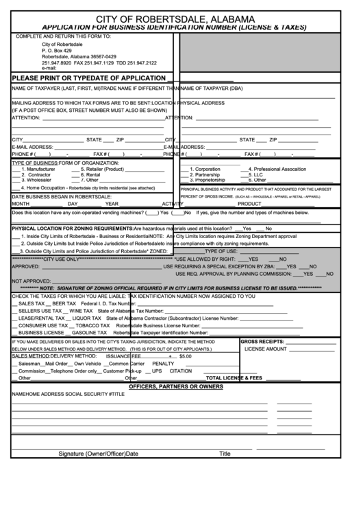 application for tax identification number