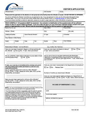 application form for request to visit an inmate