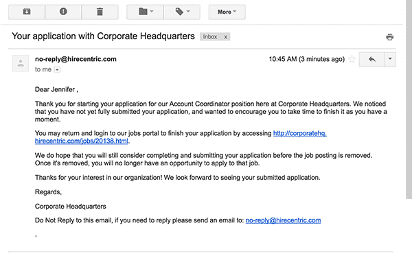 email content for job application