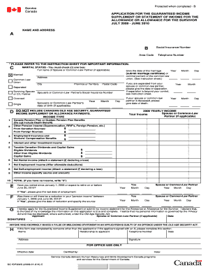 guaranteed income supplement application form