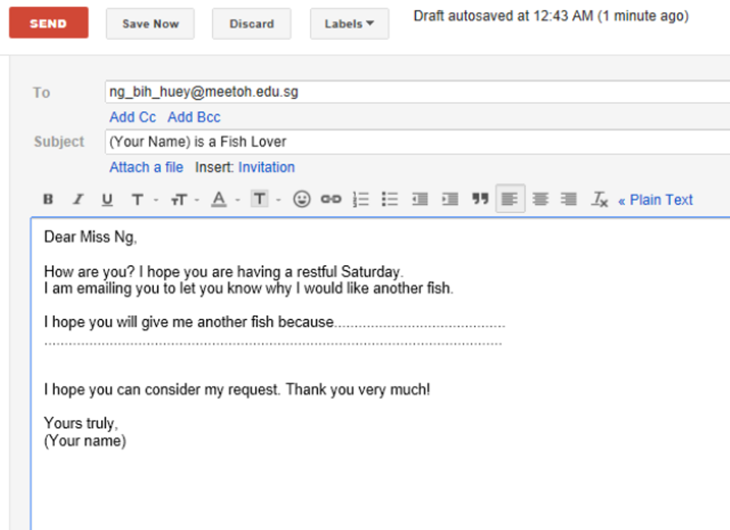 how to format a job application email